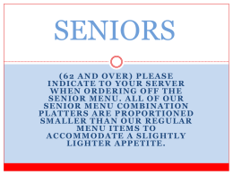 SENIORS - Suzie's Cafe