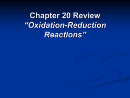 "Chapter 20 Review "" Oxidation"