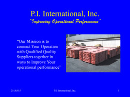 "P.I. Interntional, Inc. ""Improving Operational Performance"""