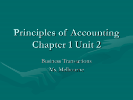 Principles of Accounting Chapter 1 Unit 2