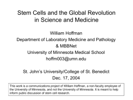 PowerPoint Presentation - Stem Cells and the Global
