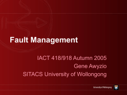Fault Management - University of Wollongong