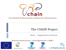 The CHAIN Project - Istituto Nazionale di Fisica Nucleare