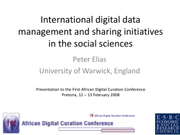 International digital data management and sharing initiatives