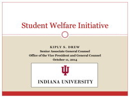 Student Welfare Initiatives - Indiana University Bloomington