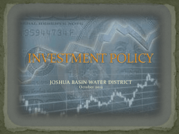 INVESTMENT POLICY - Joshua Basin Water