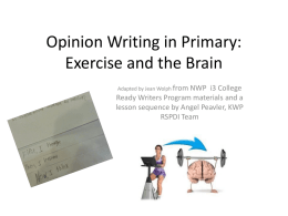 Opinion Writing In Primary: Exercise and the Brain