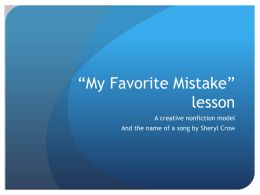 "My Favorite Mistake"" lesson"