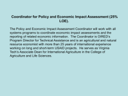 Economic and Policy Impact Assessment