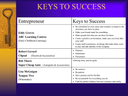 KEYS TO SUCCESS - Foundations Consulting