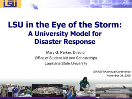 LSU: Operations Hub for Hurricane Katrina Relief