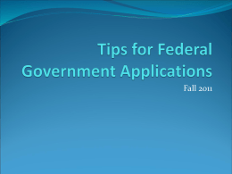 Tips for Government Applications