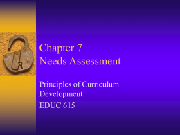 Chapter 7 Needs Assessment