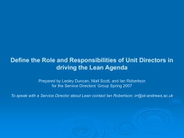 Role and Responsibilities – Driving Lean
