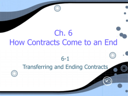 Ch. 6 How Contracts Come to an End