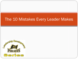 The 10 Mistakes Every Leader Makes