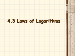Exponents and Logarithms