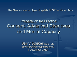 Mental Capacity Act 2005 Implications for Clinicians and