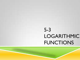 Ch 5 Exponential and Logarithmic Functions