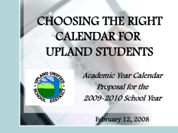 A CALENDAR FOR SUCCESS - Upland Unified School District