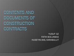 CONTENTS OF CONSTRUCTION CONTRACTS