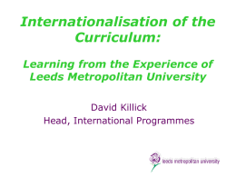 Internationalisation of the Curriculum: Learning from the