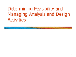 Chapter 3 Determining Feasibility and Managing Analysis