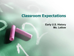 Classroom Expectations - Sonoma Valley High School