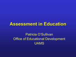 Assessment in Education - University of Arkansas for