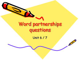 Word partnerships questions