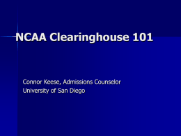 NCAA Clearinghouse 101