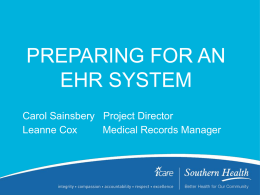 PREPARING FOR AN E.H.R SYSTEM
