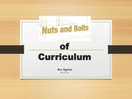The Nuts and Bolts of Curriculum