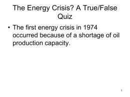 Energy Crisis – A True/False Quiz