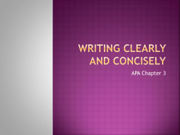 Writing Clearly and Concisely