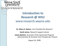 Welcome to Wayne State University's Division of Research