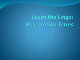 Learn the Lingo Cutting Terms: