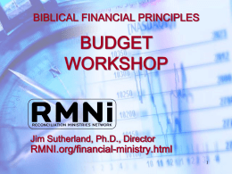 BIBLICAL FINANCIAL PRINCIPLES