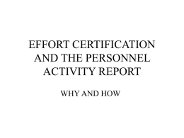 EFFORT CERTIFICATION AND THE PERSONAL ACTIVITY REPORT