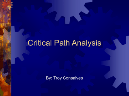 Critical Path Analysis: - University of Waterloo
