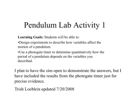 Pendulum Lab Activity 1 - University of Colorado Boulder