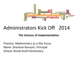 Administrators Kick Off: The Science of Implementation
