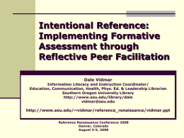 Intentional Reference: Implementing Formative Assessment