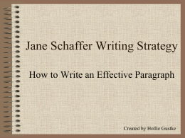 Jane Schaffer Writing Strategy