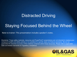 Distracted Driving - Texas Mutual Insurance Company