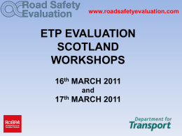 ROAD SAFETY ETP EVALUATION WORKSHOP