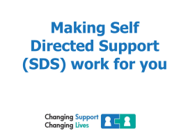 Making Self Directed Support (SDS) work for you