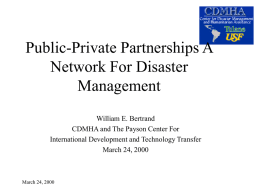 Public-Private Partnerships in Disaster Management