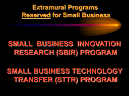 SBIR/STTR Training - Business Matchmaking