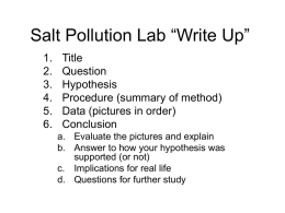 "Salt Pollution Lab ""Write Up"""